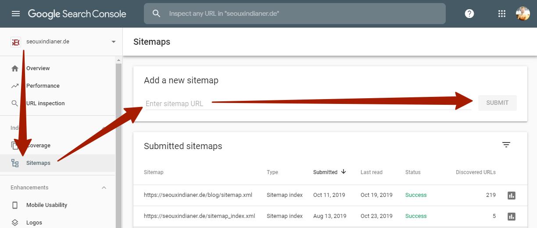 Google Search Console: XML-Sitemap hinzufügen